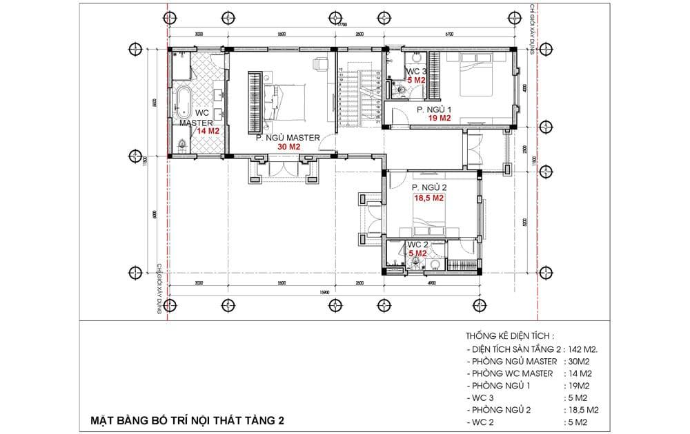 Mặt bằng tầng 2 Biệt thự Alfie Barkley Dự án BRG Hải Phòng