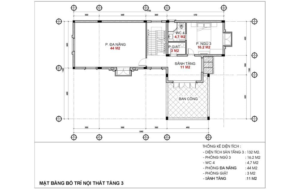 Mặt bằng tầng 3 Biệt thự Alfie Barkley Dự án BRG Hải Phòng