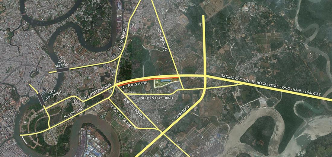 Các hướng kết nối vào dự án Lakeview City
