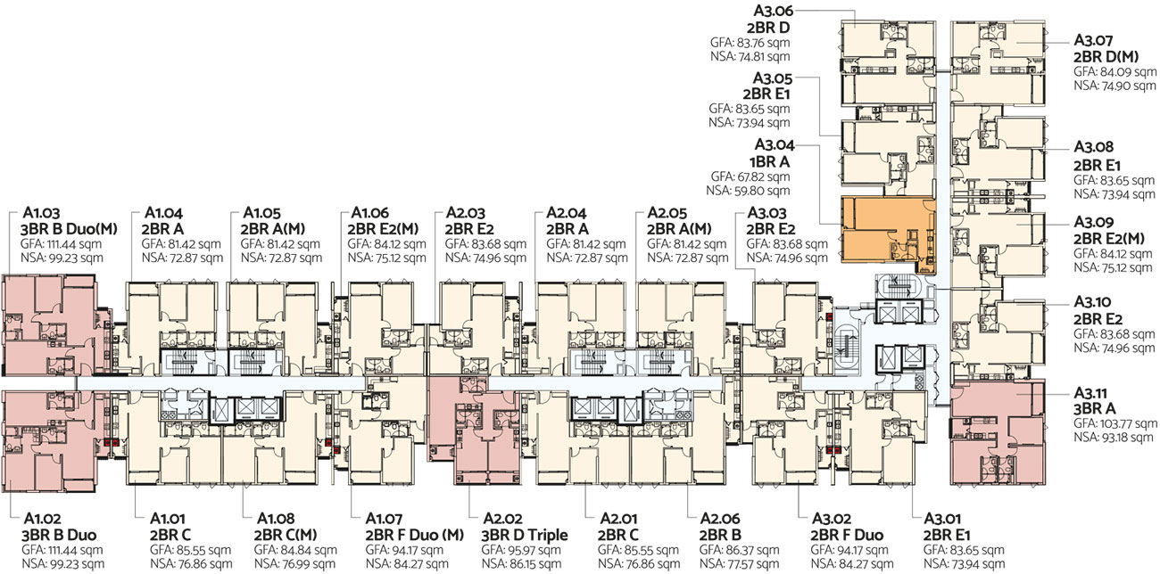 Mặt bằng tầng 2-13 toà Alto dự án căn hộ De La Sol Quận 4