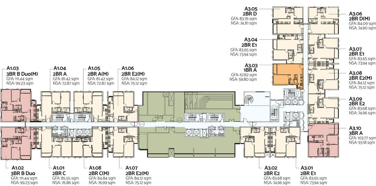Mặt bằng tầng 14 toà Alto dự án căn hộ De La Sol Quận 4