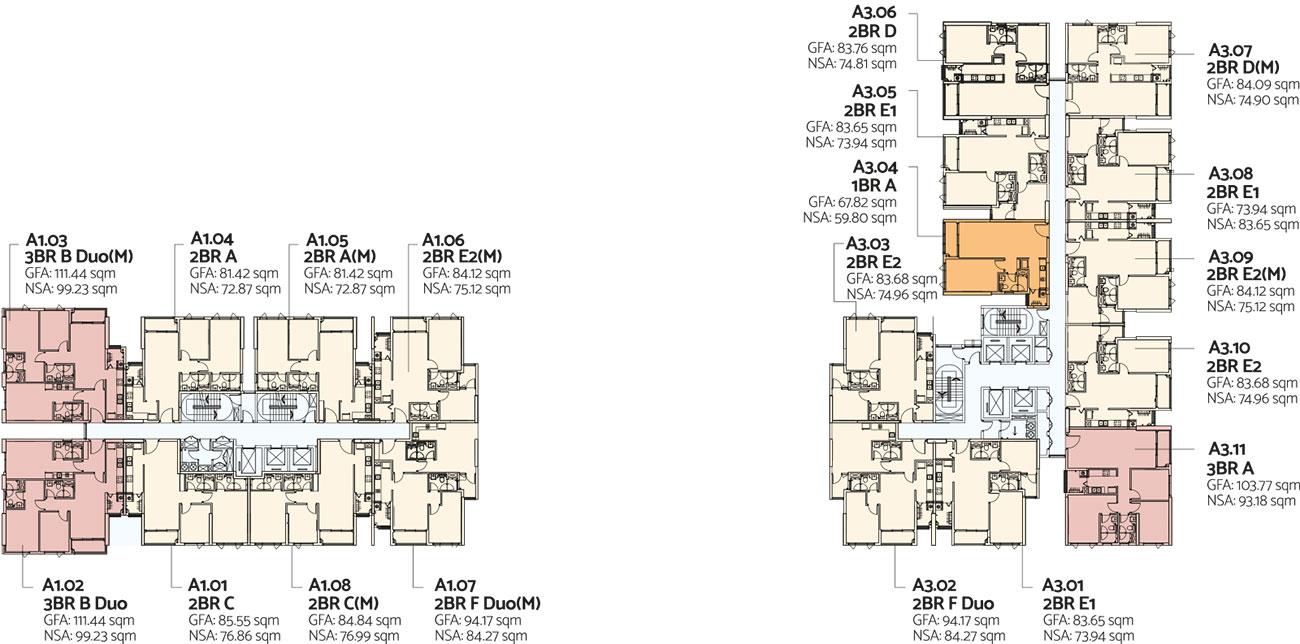 Mặt bằng tầng 17-22 toà Alto dự án căn hộ De La Sol Quận 4