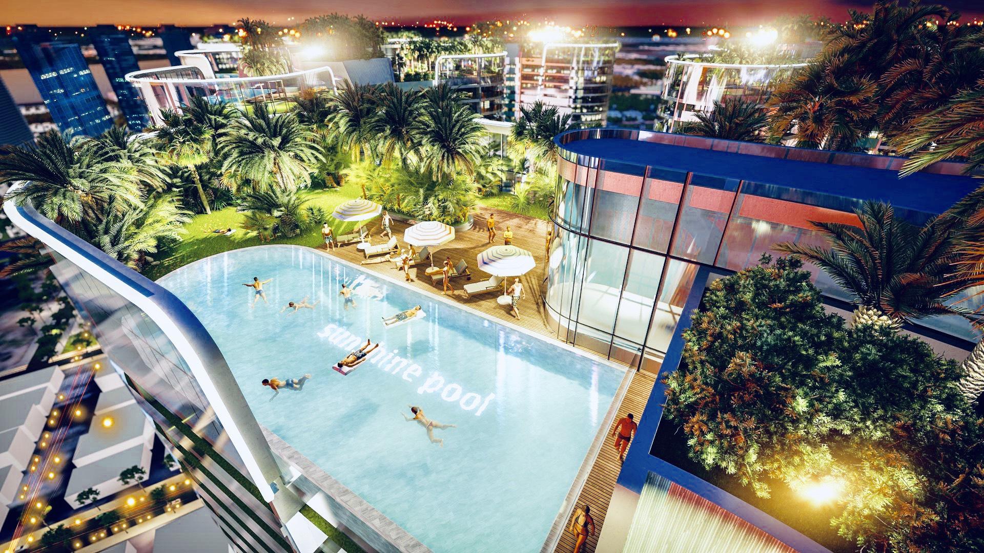 Hồ bơi vô cực tầng thượng & kết hợp Sky Bar view sông Sài Gòn đẹp lung linh.