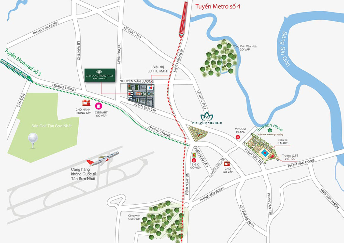 Vị trí dự án city land Park Hills